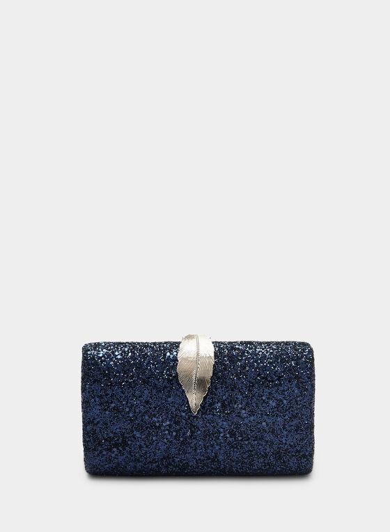 Pochette pailletée à fermoir feuille, Bleu