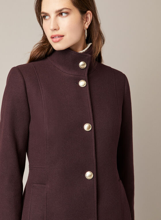 High Collar Wool Blend Coat, Purple