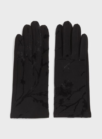 Cherry Tree Print Gloves , Black, hi-res