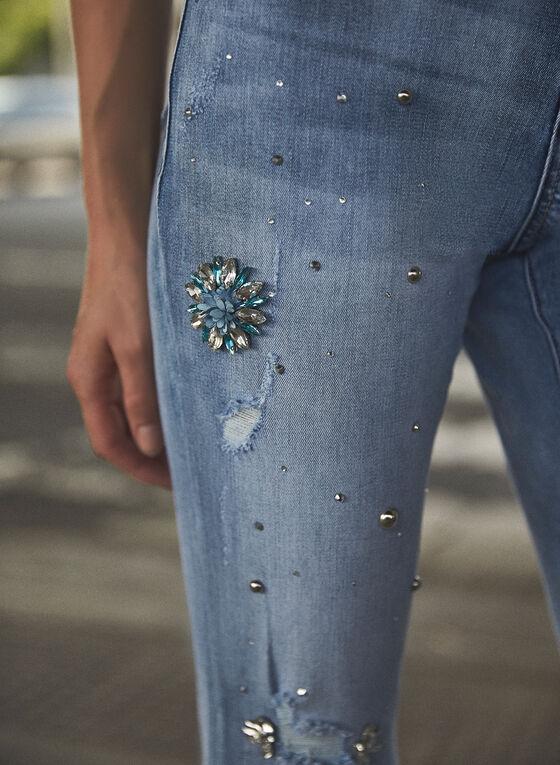 Floral Detail Slim Leg Jeans, Blue