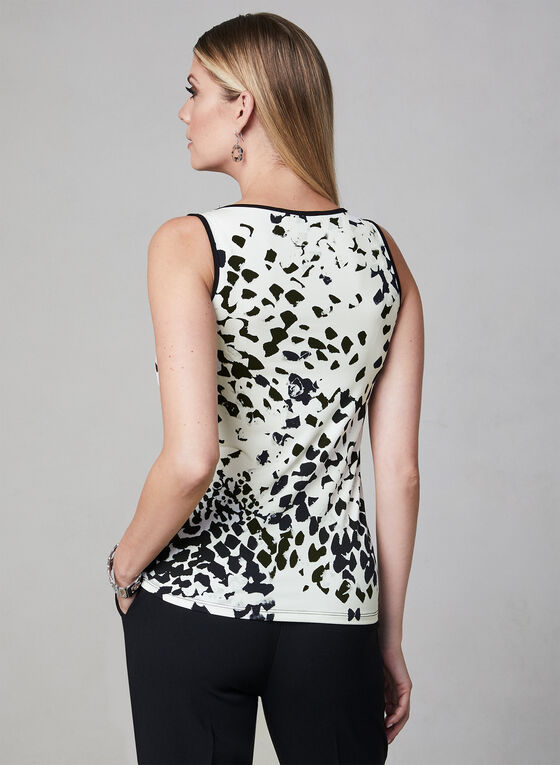 Abstract Print Sleeveless Top, White, hi-res