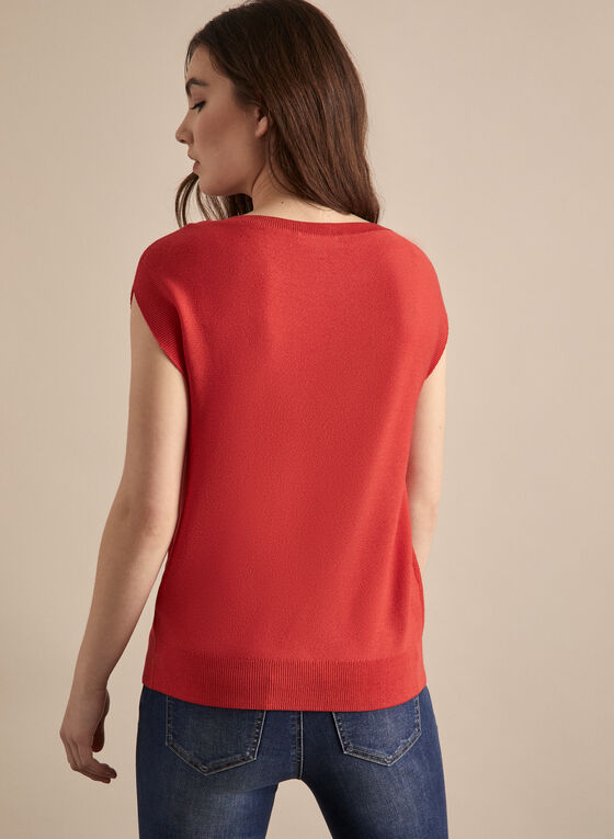 Sleeveless Knit Top, Orange