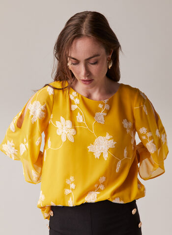 Blouse en mousseline à manches fendues, Jaune,  blouse, mousseline, col bateau, manches fendues, fleurs, fil, printemps été 2020