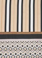 Foulard à rayures et motif géométrique, Noir