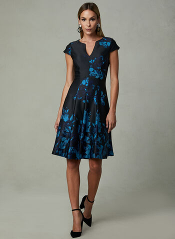 Julia Jordan - Floral Print Fit & Flare Dress, Blue, hi-res