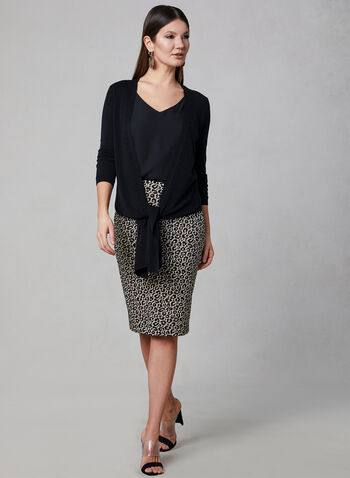 Leopard Print Pencil Skirt, Black,  animal print, spring 2019, pull-on