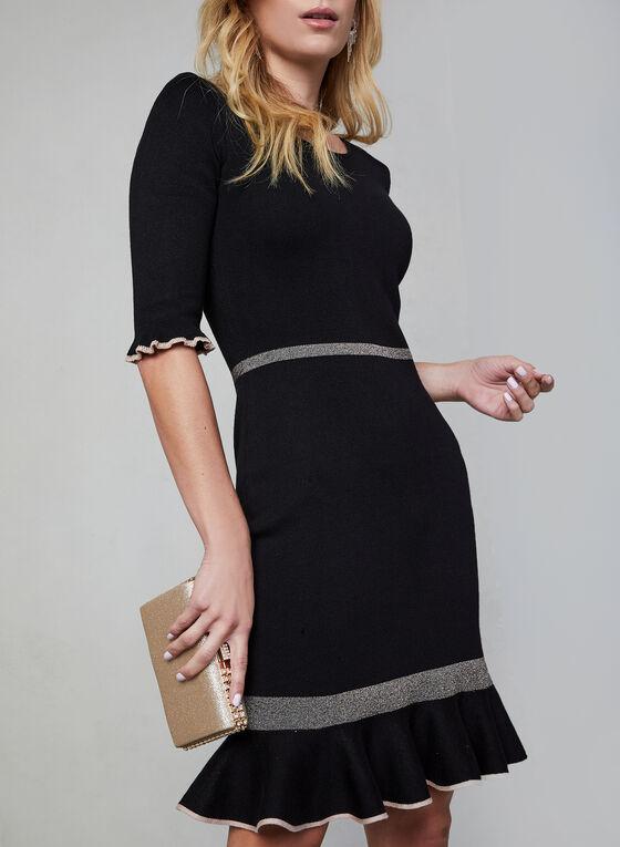 Robe en tricot à détails contrastants  , Noir