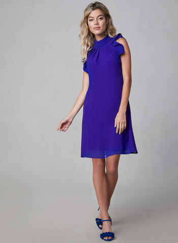 Vince Camuto - Chiffon Dress, Blue, hi-res