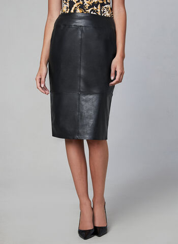 Faux Leather Pencil Skirt, Black,  wiggle, vegan, pull-on, stitching, fall 2019, winter 2019