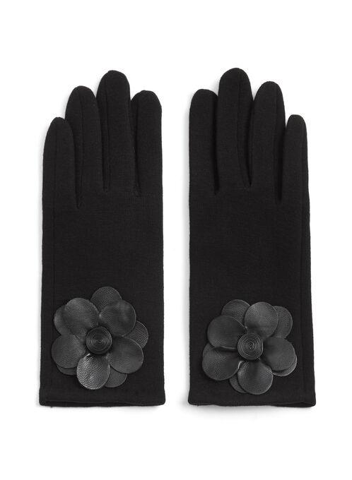 Gants en laine avec fleur similicuir , Noir, hi-res