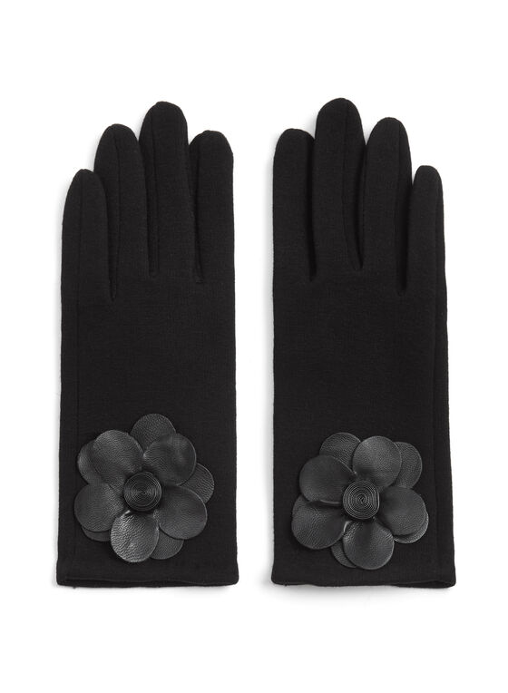 Wool Blend Flower Appliqué Gloves, Black, hi-res