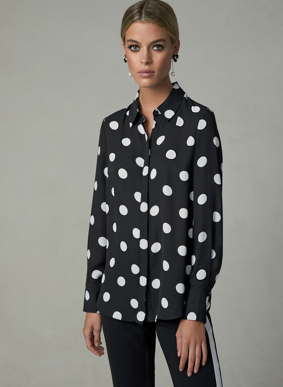 Polka Dot Print Blouse, Black