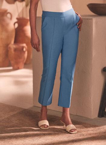 Stitch Detail Pull-On Capris, Blue,  capris, pull-on, bengaline, slim, stitch, pleats, spring summer 2020