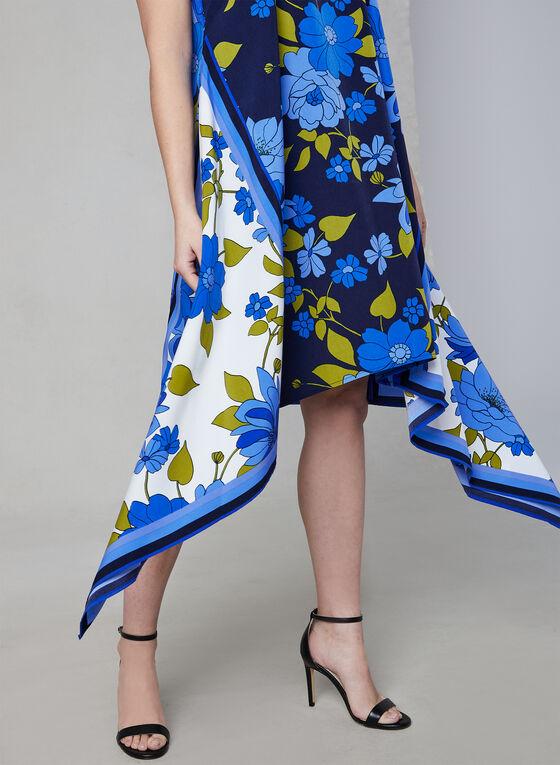 Maggy London - Robe fleurie à ourlet édenté, Bleu, hi-res