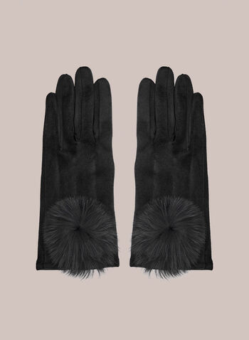 Large Pompom Faux Suede Gloves, Black,  fall winter 2020, gloves, accessories, rabbit fur, faux suede, soft