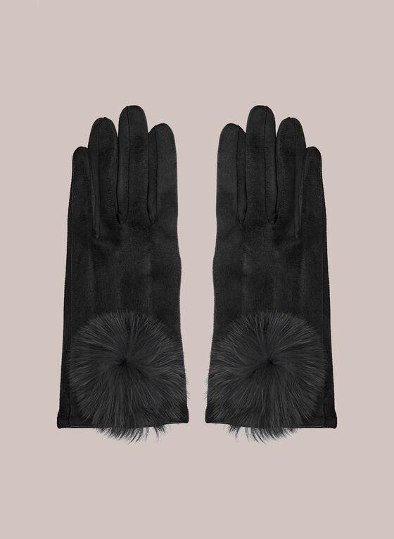 Large Pompom Faux Suede Gloves, Black
