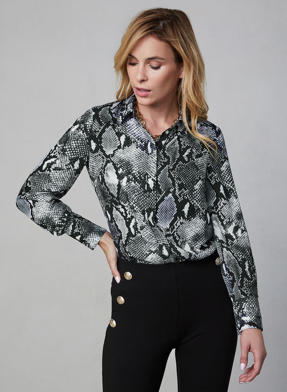 Snake Print Blouse, Black