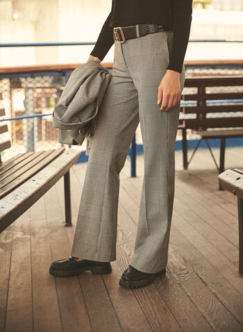 Pantalon large motif prince-de-galles, Noir,  pantalon, large, prince-de-galle, poches, automne hiver 2020