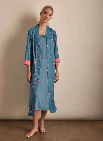 Claudel Lingerie - Robe & Nightgown Set, Blue,  sleepwear, two-piece, robe, nightgown, floral, stretchy, sleeveless,