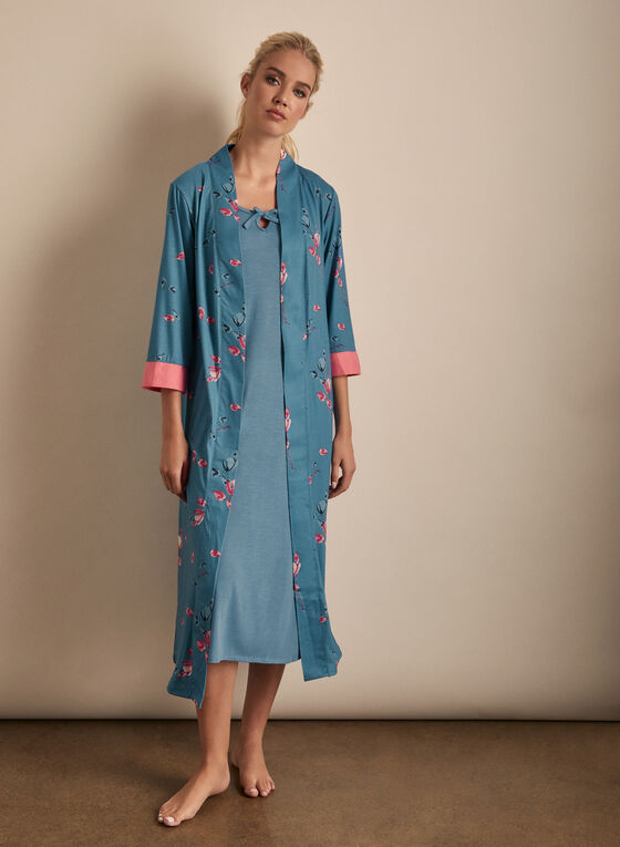 Claudel Lingerie - Robe & Nightgown Set, Blue