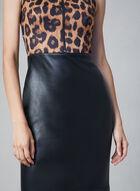 Joseph Ribkoff - Robe à motif léopard et jupe en similicuir, Noir, hi-res