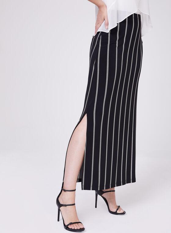 Jupe longue pull-on à rayures et fentes, Noir, hi-res