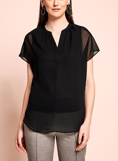 Short Sleeve Chiffon Blouse, Black, hi-res