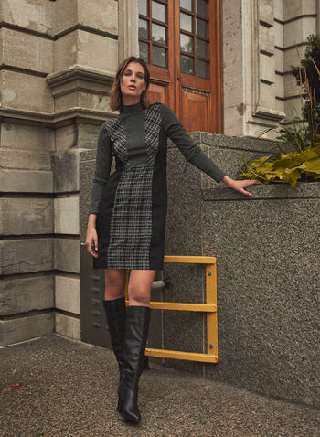 Vince Camuto - Plaid Detail Dress, Black,  fall winter 2021, Vince Camuto, dress, sheath, plaid, mixed pattern, long sleeve, mock neck, above the knee