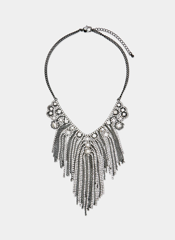 Cascading Crystal Necklace, Grey, hi-res
