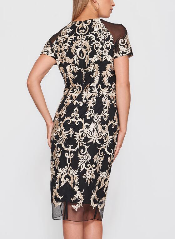 Jax - Embroidered Mesh Dress, Gold, hi-res