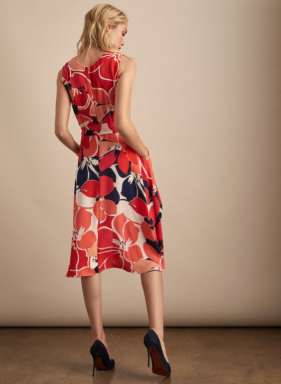 Donna Ricco - Sleeveless Floral Print Dress, Red