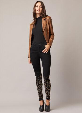 Jeans étroit à détails rivets, Noir,  jeans, étroit, denim, rivets, automne hiver 2020
