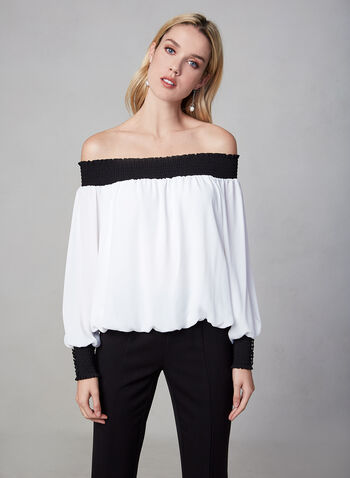 Off The Shoulder Contrast Top , Off White,  blouse, off the shoulder, contrasting, smocking, fall 2019, winter 2019
