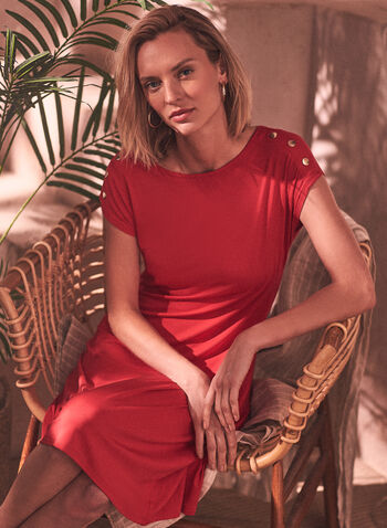 Button Detail Flare Dress, Red,  spring summer 2021, dress, day dress, scoop neck, short sleeves, fit, flare, flare cut, decorative buttons, gold buttons, details