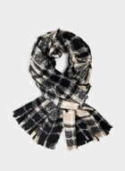 Plaid Print Scarf, Black