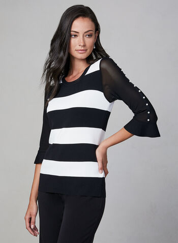 Stripe Print ¾ Sleeve Sweater , Black, hi-res,  stripes, pearls, sweater, fall 2019, winter 2019