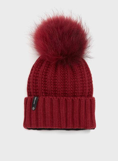 Tuque tricot avec pompon en fourrure, Rouge, hi-res