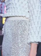 Sequin Pencil Skirt, Off White