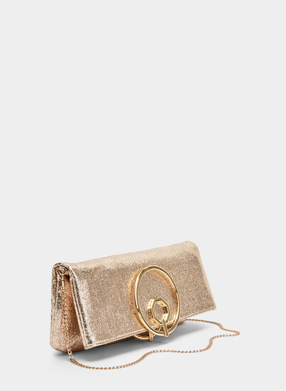 Ring Handle Metallic Clutch, Gold