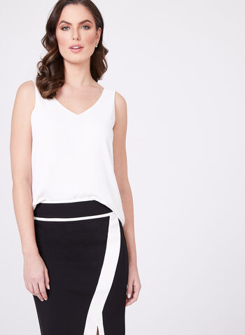 Sleeveless Layered Crepe Top, Off White, hi-res