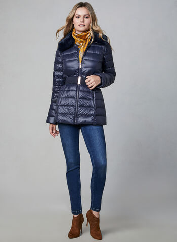 Quilted Packable Down Coat, Blue, hi-res,  fall winter 2019, packable, down, rose gold, coat