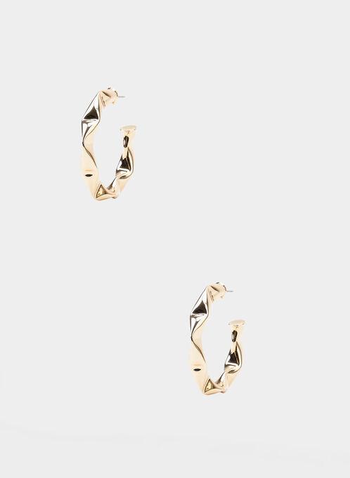 Hammered Metal Hoop Earrings, Gold, hi-res