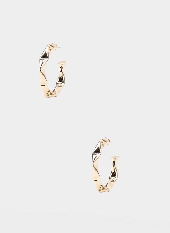 Hammered Metal Hoop Earrings, Gold