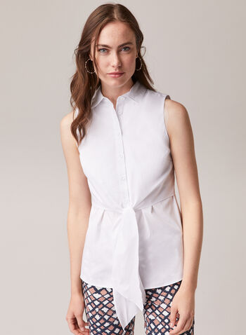 Knot Detail Sleeveless Blouse, White,  blouse, shirt collar, sleeveless, button front, cotton blend, spring summer 2020