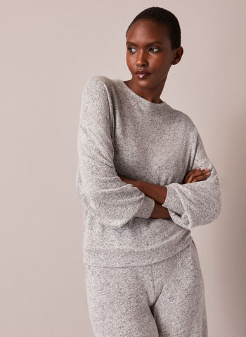 Crew Neck Sweater Knit Top, Grey,  top, knit, sweater, crew neck, long sleeves, soft, fall winter 2020