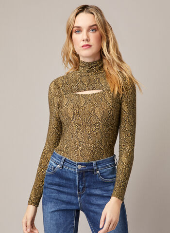 Snake Print Cutout Detail Top, Yellow,  fall winter 2020, snake print, top, cutout detail, long sleeves, fall winter 2020