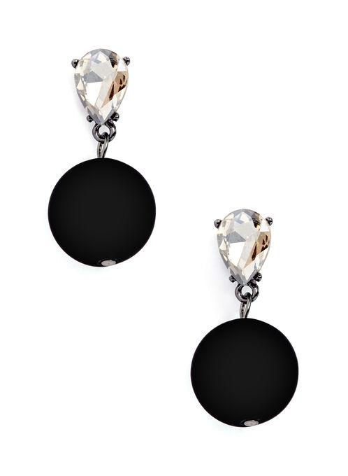 Boucles d'oreilles perles et pierres facettées, Noir, hi-res