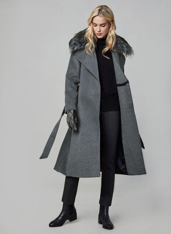 Karl Lagerfeld Paris - Belted Wool Blend Coat, Grey