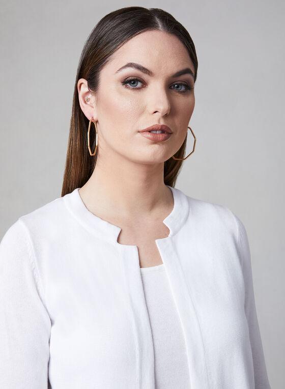 Alison Sheri - Open Front Knit Cardigan, White, hi-res
