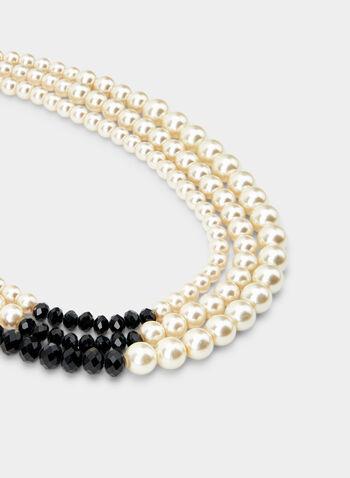 Triple Row Pearl Necklace, Black, hi-res,